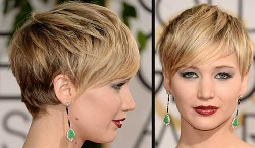 Jennifer Lawrence Short Styles for Round Faces