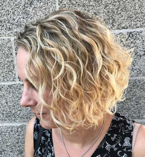 Short Wavy Curly Balayage Hairstyles