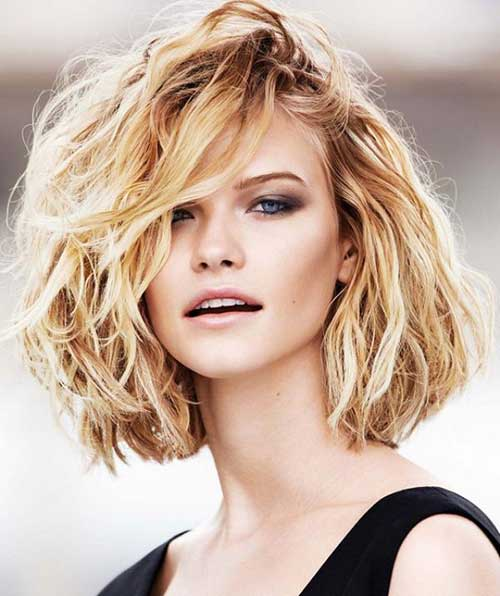 Short Wavy Curly Hairstyles with Side Bangs