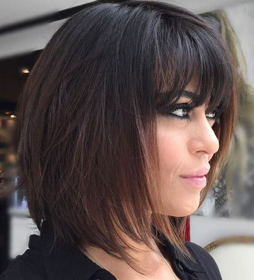 Long Bob Hairstyle Ideas with Bangs