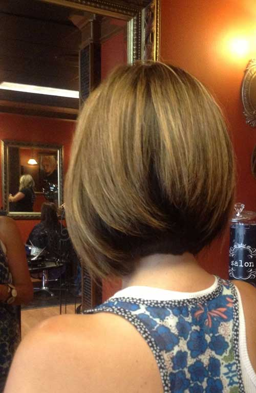 Back View of Stacked Bob Haircuts