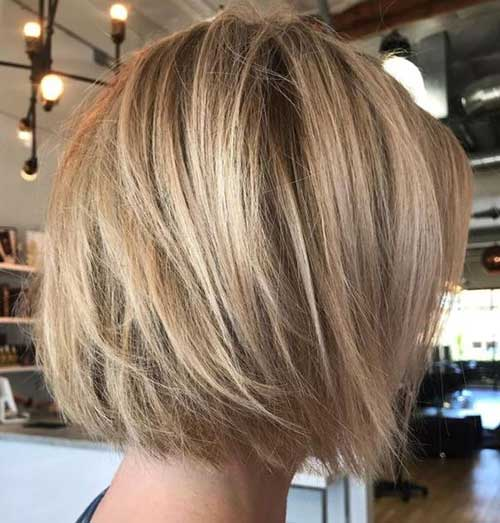 Back View of Textured Bob Haircuts