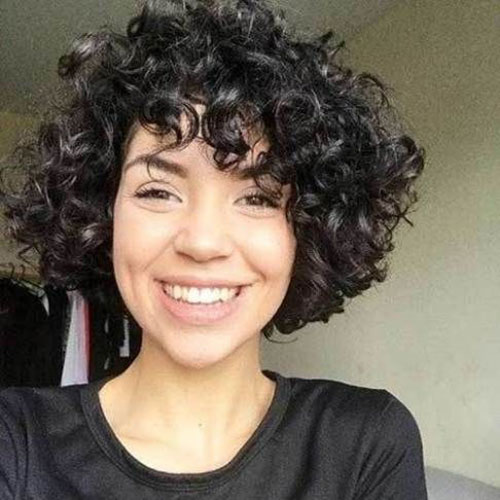 Short Naturally Curly Hairstyles With Bangs