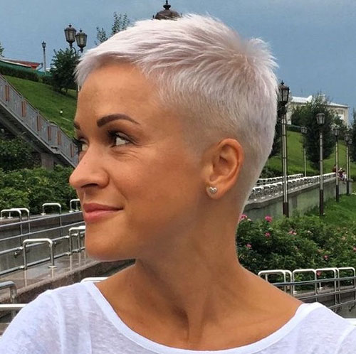 Short Short White Pixie Hairstyles