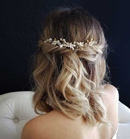 Half Up Half Down Short Bridal Hairdos
