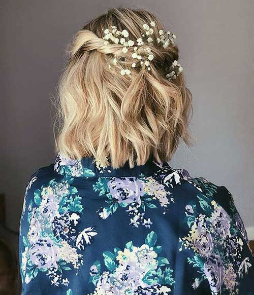 Short Bridal Flower Hairdos