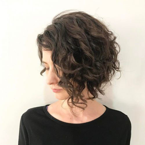 Angled Curly Bob Haircuts