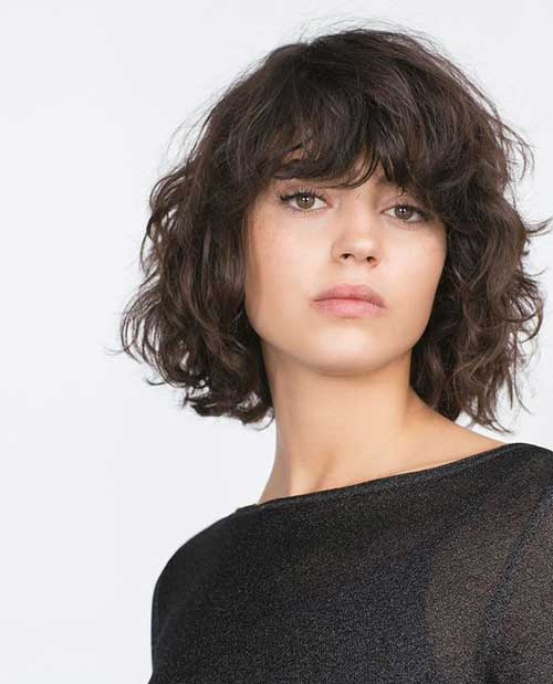 Curly Bob Haircuts with Bangs