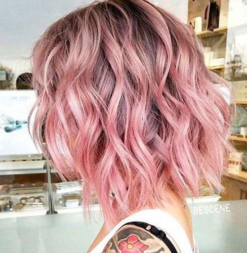 Wavy Short Pink Haircuts
