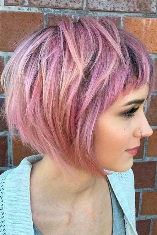 Pink Layered Bob Haircuts