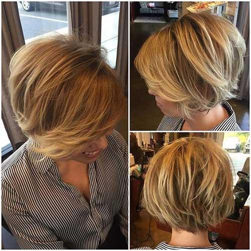Blonde Bob Haircuts with Long Bangs