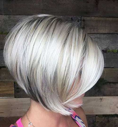 Platinum Grey Inverted Bob Hairstyles