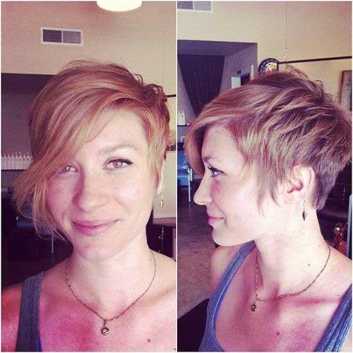 Asymmetrical Blonde Pixie Haircuts