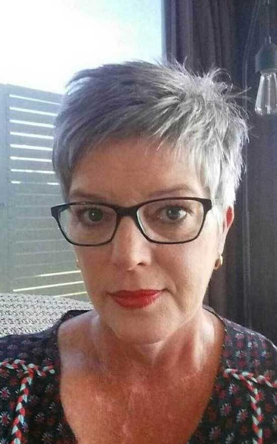 Short Pixie Haircuts for Women Over 60 with Glasses