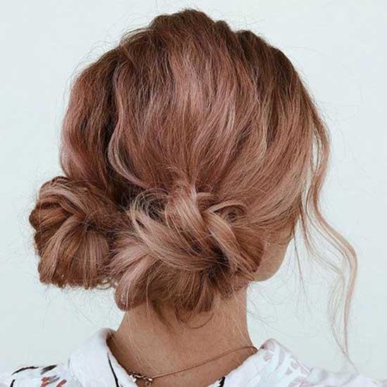 Short Bun Pigtails Hairstyles