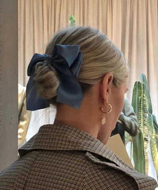 Short Bun Hairstyles with Ribbon