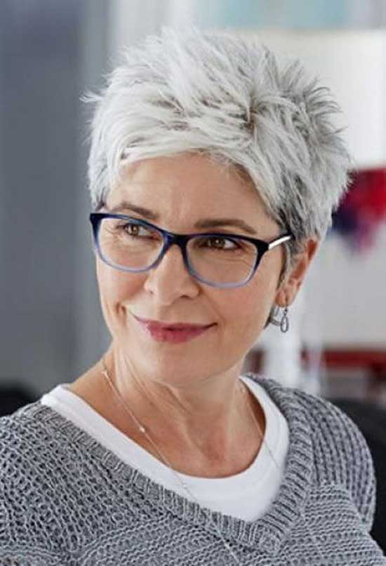 Grey Pixie Haircuts for Women Over 50-7