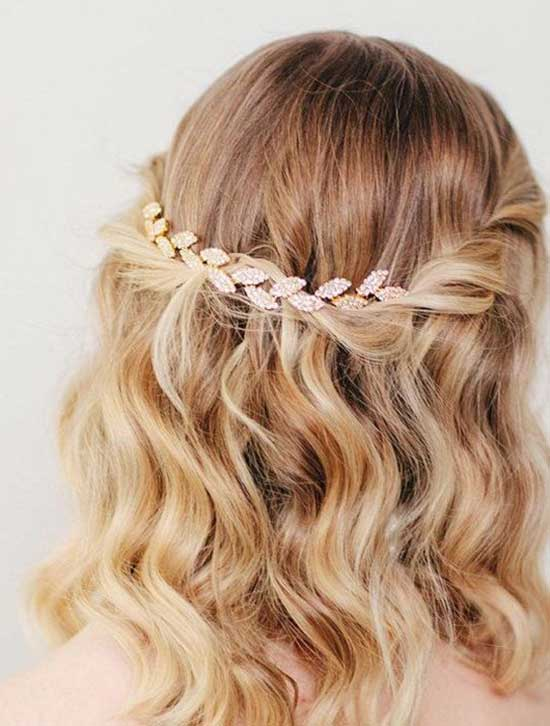 Half Up Half Down Wedding Hairstyles for Short Medium Hair-10