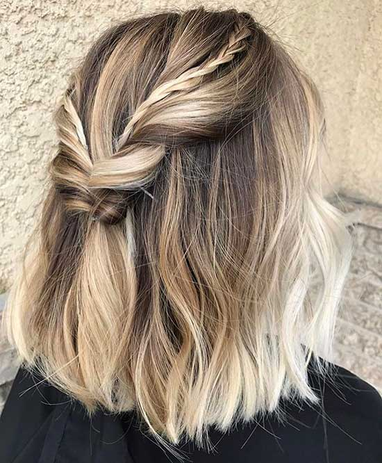Half Up Half Down Wedding Balayage Hairstyles for Short Hair-11