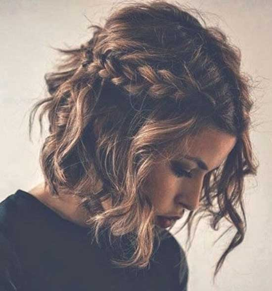 Half Up Half Down Wedding Wavy Hairstyles for Short Hair-12