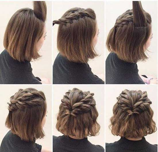 Half Up Half Down Wedding Crown Braid Hairstyles for Short Hair-14