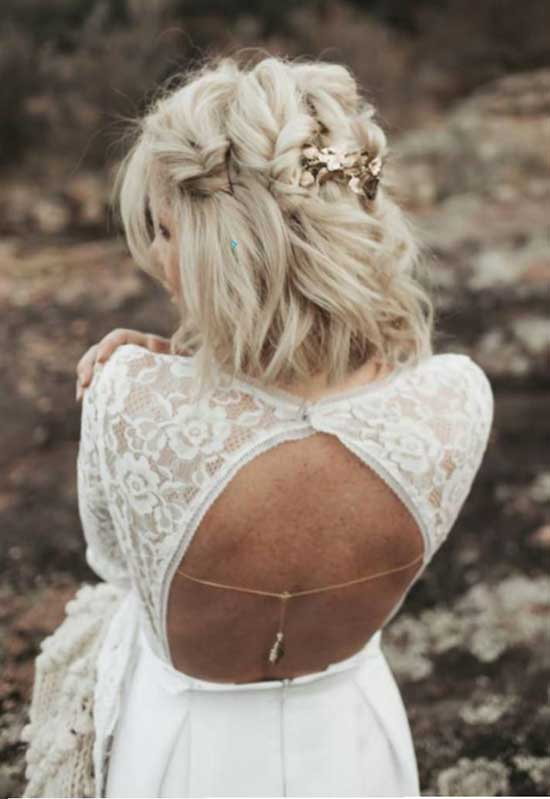 Half Up Half Down Bridal Hairstyles for Short Hair-15
