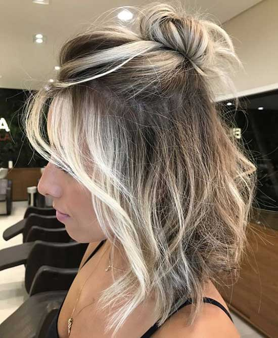 Half Up Half Down Wedding Hairstyles for Blonde Short Hair-17