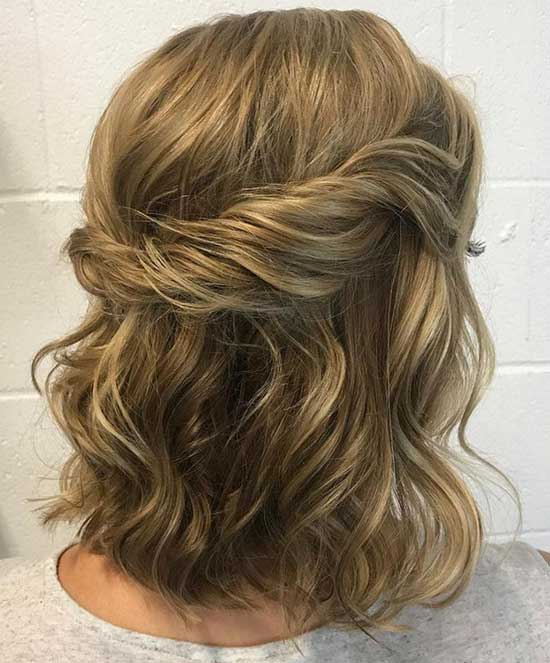 Half Up Half Down Wedding Hairstyles for Short Length Hair-19