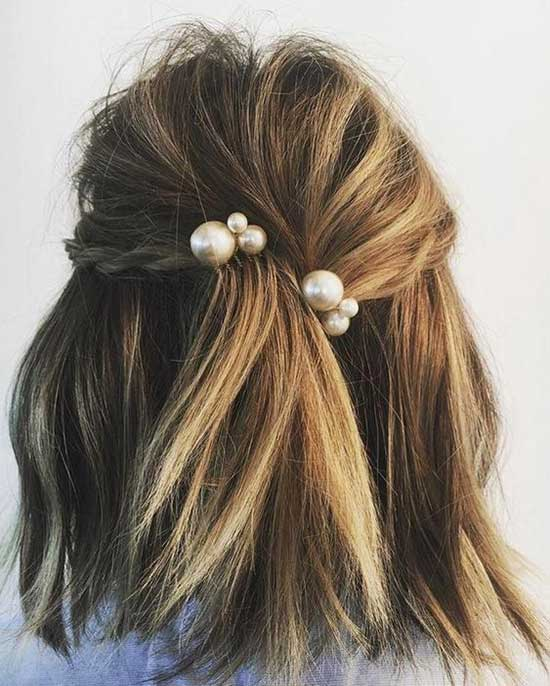 Half Up Half Down Wedding Hairstyles with Pearls for Short Hair-7