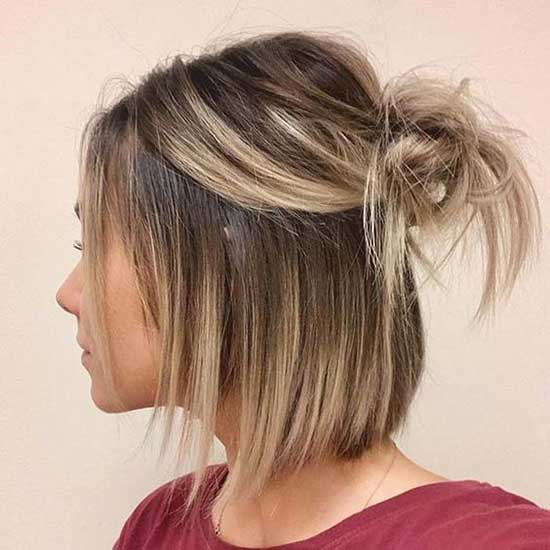 Half Up Half Down Wedding Messy Hairstyles for Short Hair-8