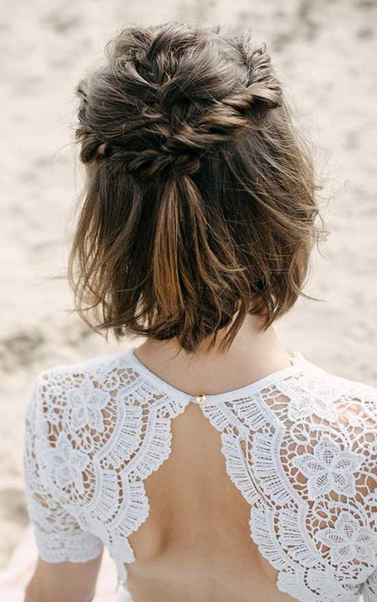 Half Up Half Down Wedding Hairstyles for Short Hair